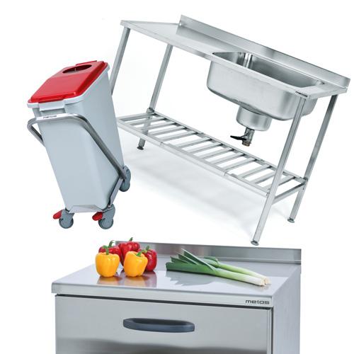 Virtuves aprīkojums - nerūsējošā tērauda rati, galdi, plaukti